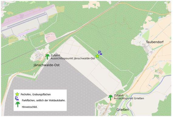 Tag des offenen Denkmals: Anfahrtsskizze zur Fundstelle im Tagebau Jänschwalde, Foto: BLDAM