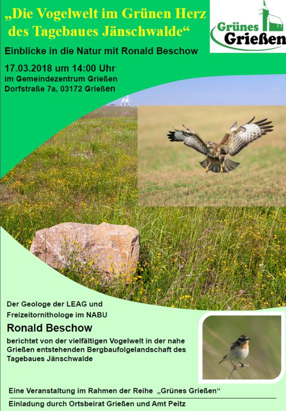 """Veranstaltungsreihe """"Grünes Grießen"""": Die Vogelwelt in der Bergbaufolgelandschaft des Tagebaus Jänschwalde"""