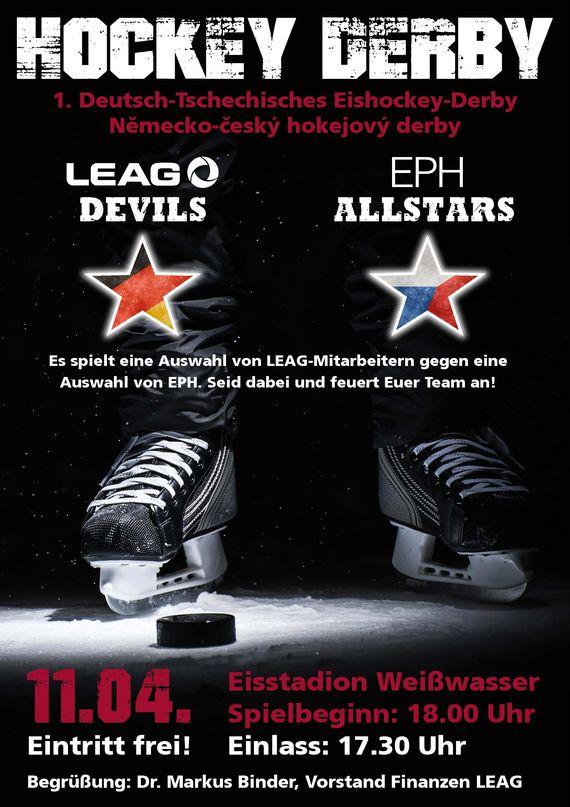 Plakat Eishockey-Spiel LEAG-EPH, Foto: LEAG