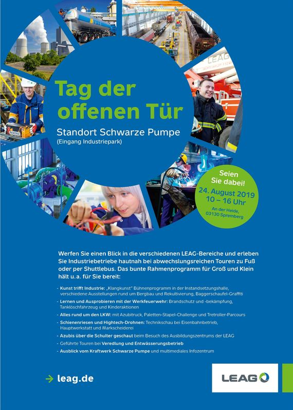 Flyer zum Tag der offenen Tür der LEAG im Industriepark Schwarze Pumpe