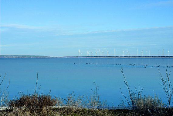Ansicht der schwimmenden PV-Anlage vom Standort Merzdorf, Foto: LEAG
