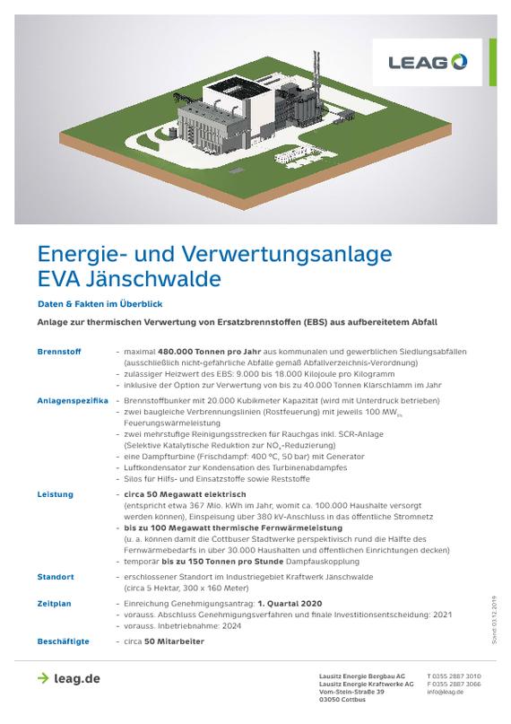 Faktenblatt Energie- und Verwertungsanlage Jänschwalde