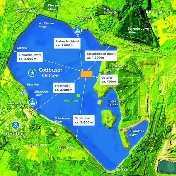 Lage der schwimmenden PV-Anlage auf dem künftigen Cottbuser Ostsee, Grafik: LEAG