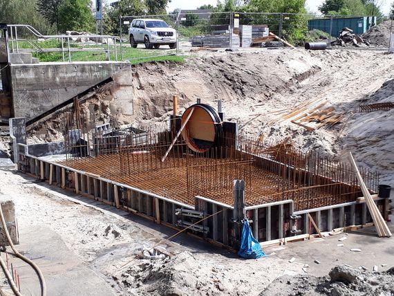 Baustelle für das Abschlagbauwerk des künftigen Cottbuser Ostsees, Foto: LEAG