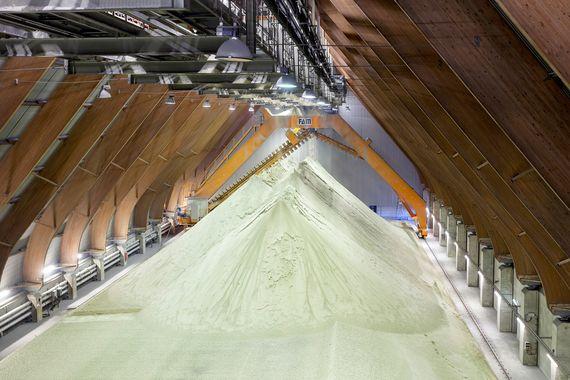 Gips wird im Kraftwerk Schwarze Pumpe als Nebenprodukt erzeugt